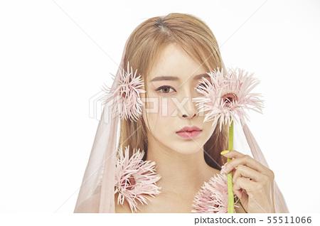 꽃,뷰티,젊은여자 55511066