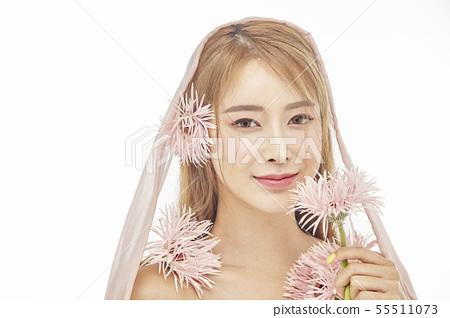 꽃,뷰티,젊은여자 55511073