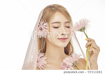꽃,뷰티,젊은여자 55511081