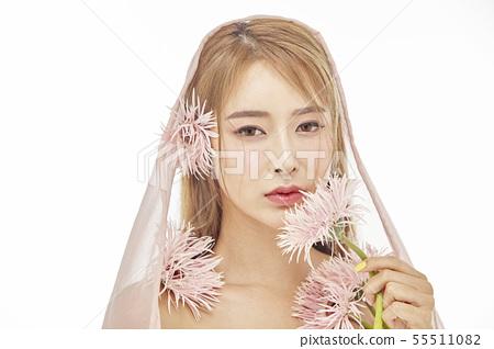 꽃,뷰티,젊은여자 55511082