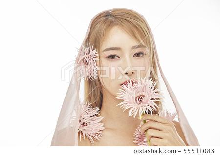 꽃,뷰티,젊은여자 55511083