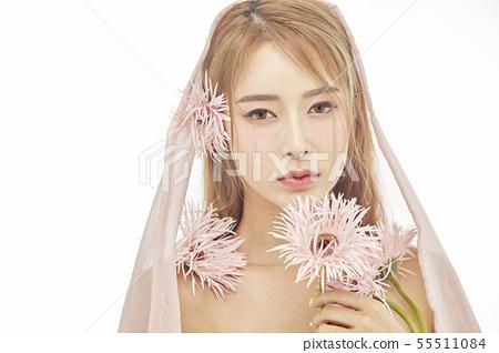 꽃,뷰티,젊은여자 55511084