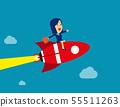 Businesswoman sitting on rocket go to success. 55511263