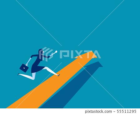 Businesswoman running on arrow. Concept business 55511295