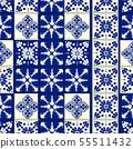 Vector tile pattern, Lisbon floral mosaic, Mediterranean seamless navy blue ornament 55511432