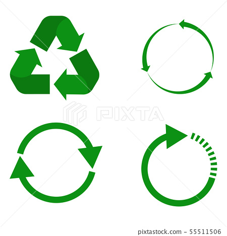 recycle icon on white. green recycle sign.  55511506
