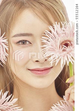 꽃,뷰티,젊은여자 55512164