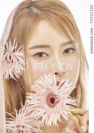 꽃,뷰티,젊은여자 55512182
