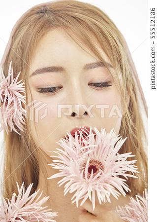 꽃,뷰티,젊은여자 55512186