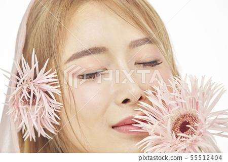 꽃,뷰티,젊은여자 55512404