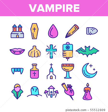 Color Protection From Vampire Vector Linear Icons Set 55512809