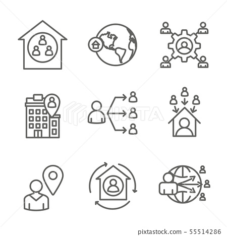 In-Company and Outsource Icon Set with 55514286
