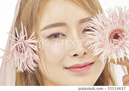 꽃,뷰티,젊은여자 55514637