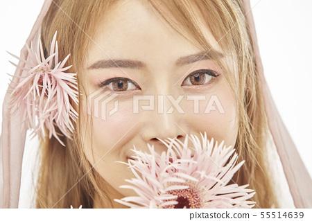 꽃,뷰티,젊은여자 55514639