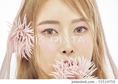 꽃,뷰티,젊은여자 55514759