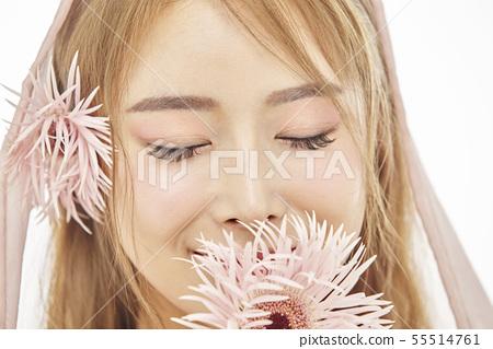 꽃,뷰티,젊은여자 55514761
