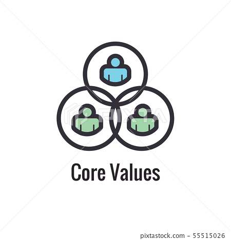 Core Values Outline / Line Icon Conveying a 55515026