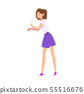 Beautiful Happy Young Woman Wearing White Blouse and Skirt Cartoon Vector Illustration 55516676