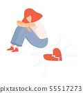 Unhappy Teen Girl with Broken Heart, Teenager Puberty Problem Vector Illustration 55517273