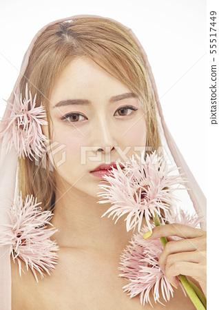 꽃,뷰티,젊은여자 55517449