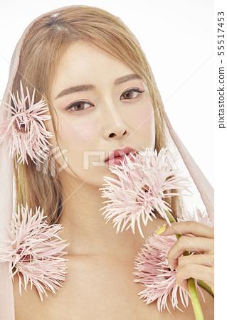 꽃,뷰티,젊은여자 55517453