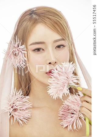 꽃,뷰티,젊은여자 55517456