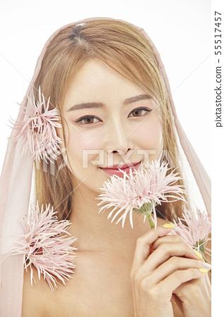 꽃,뷰티,젊은여자 55517457