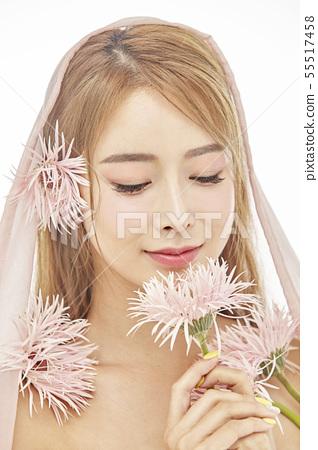 꽃,뷰티,젊은여자 55517458