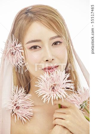 꽃,뷰티,젊은여자 55517465