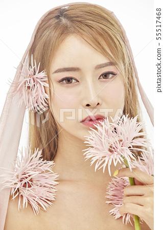 꽃,뷰티,젊은여자 55517468