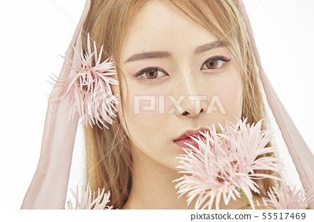 꽃,뷰티,젊은여자 55517469