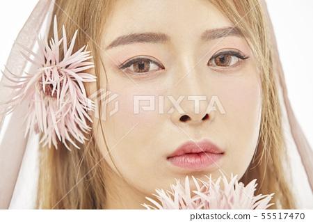 꽃,뷰티,젊은여자 55517470