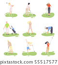 People Playing Golf Set, amdn and Woman Golfer Players Training with Golf Clubs on Course, Outdoor 55517577