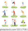 People Playing Golf Set, Male and Female Golfer Players Training with Golf Clubs on Course with 55517581