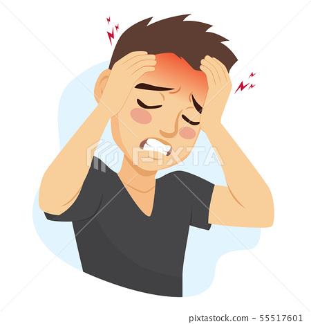 Young man suffering migraine headache pain 55517601