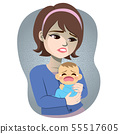 Woman postpartum depression baby crying 55517605