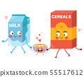 Cute food character family milk cereals and bowl 55517612