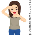 Woman happy making framing gesture with both hands 55517613
