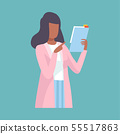 Female Doctor Holding Clipboard and Giving Advice or Recommendation, Professional Medical Worker 55517863