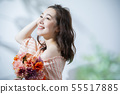 Woman with beauty image and bouquet 55517885