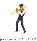 Man Playing Trombone, Male Jazz Musician Character in Elegant Clothes with Blow Musical Instrument 55518371