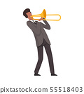 Young Man Playing Trombone Male Jazz Musician Character in Elegant Suit with Musical Instrument 55518403