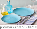 table setting coordinated in blue and white 55518719