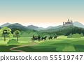 Castle, carriage, knight. Mountains Landscape. 55519747