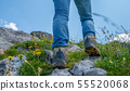 close-up of woman hiker's foots in the mountain 55520068