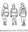 back view of three girl students vector 55522392