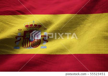 Closeup of Ruffled Spain Flag 55523451
