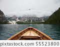Lago di Braies and mountains view from boat 55523800