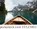 Lago di Braies and mountains view from boat 55523801