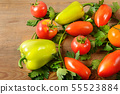 Vegetables on old wooden table. Flat lay, top 55523884